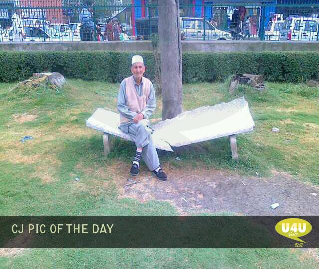 Broken bench at Pratap Park LaL Chowk Srinagar.