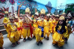 Children celebrating Janmashtami