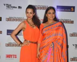 Bollywood actresses Malaika Arora Khan and Vidya Balan during a press conference announcing the Indian Film Festival of Melbourne, in Mumbai on September 26, 2013. (Photo: IANS)