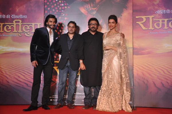 Bollywood actor Ranveer Singh, filmmakers Sunil Lulla, Sanjay Leela Bhansali and actress Deepika Padukone during the trailer launch of film Ram Leela in Mumbai on September 16, 2013. (Photo: IANS)