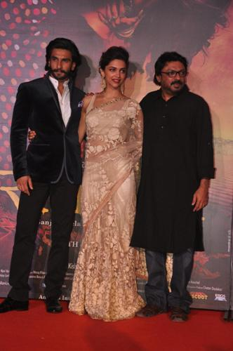 Bollywood actor Ranveer Singh, filmmaker Sanjay Leela Bhansali and actress Deepika Padukone during the trailer launch of film Ram Leela in Mumbai on September 16, 2013. (Photo: IANS)