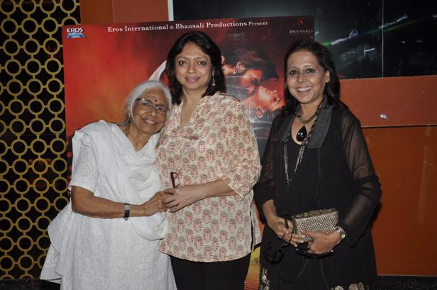 Bollywood filmmaker Sanjay Leela Bansali`s sister Bela Sehgal and mother Leela Bansali during the trailer launch of film Ram Leela in Mumbai on September 16, 2013. (Photo: IANS)