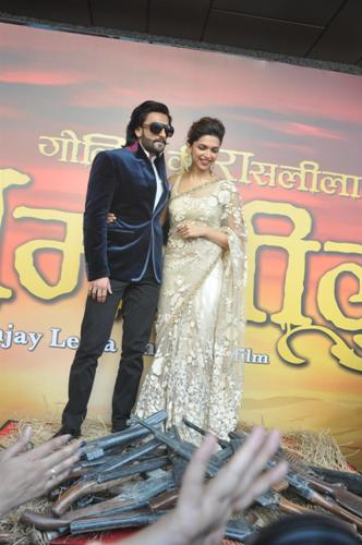 Bollywood actors Ranvir Singh and Deepika Padukone during the trailer launch of film Ram Leela in Mumbai on September 16, 2013. (Photo: IANS)