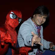 Actor Vivek Oberoi meets Spiderman at PVR, in Mumbai, on April 18, 2014. (Photo: IANS)