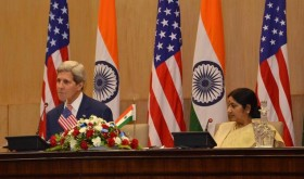 External Affairs Minister Sushma Swaraj and U.S. Secretary of State John Kerry during a joint press conference in New Delhi on July 31, 2014. (Photo: IANS)