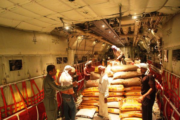 SHIB1194-relief materials beinmg loaded inside C-130J aircraft