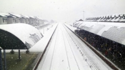 A view of Banihal railway station during heavy snowfall in south Kashmir
