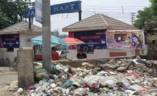 Garbage scattered in front of registration counter for Amarnath Yatries at Jammu Haat presents pathetic view