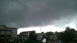 Dark Clouds seen in Srinagar city after flash rains