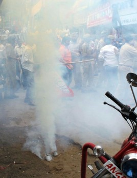 Teargas shelling outside BJP office