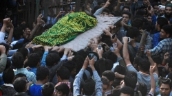 Funeral Images of foreign JeM militants killed in Tral