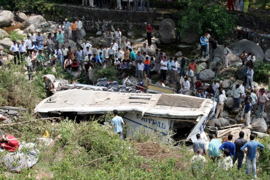 Bus carrying Amarnath pilgrims fell into a gorge along the Jammu-Srinagar Highway